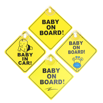 1PC Baby On Board SAFETY Car Window Suction Cup Yellow REFLECTIVE Warning Sign 12CM Car interior decoration image