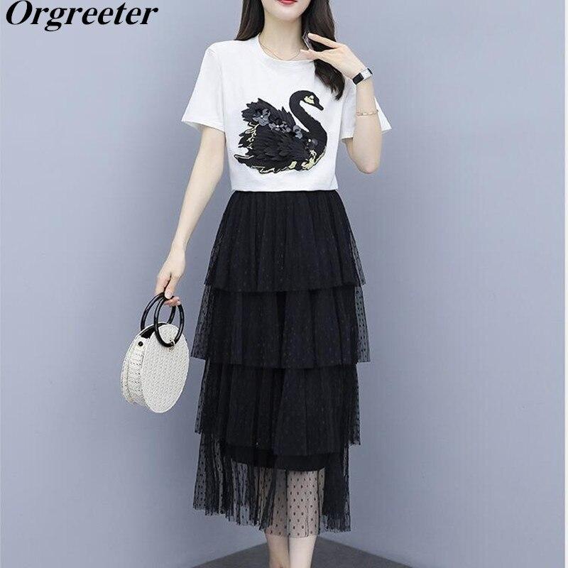 High Quality 2020 Summer Women Embroidery Swan T-shirt + Polka Dot Cascading Ruffle Mesh Long Skirt 2 Pieces Sets Female