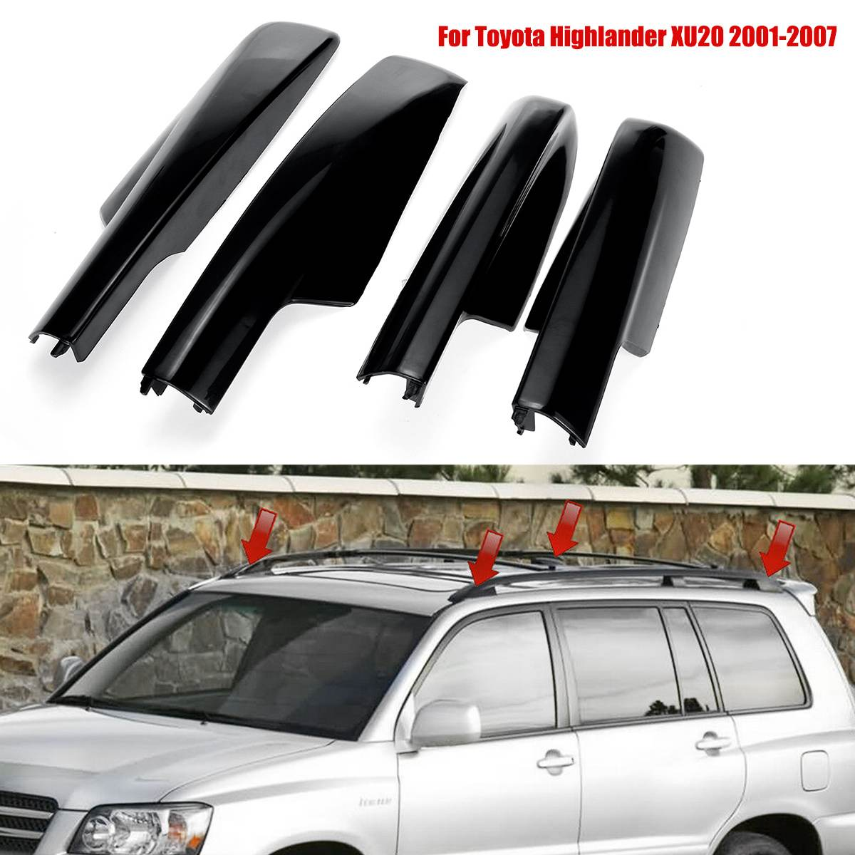 Autoleader 4PCS Roof Rack Bar Rail End Protection Cover Shell For Toyota Highlander XU20 2001-2007 New image