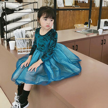 Autumn Winter 2019 Childrens Patchwork Mesh Dress Girls Kids Velvet Tutu Princess Long Sleeve Party Dresses Full Clothes 1-7T
