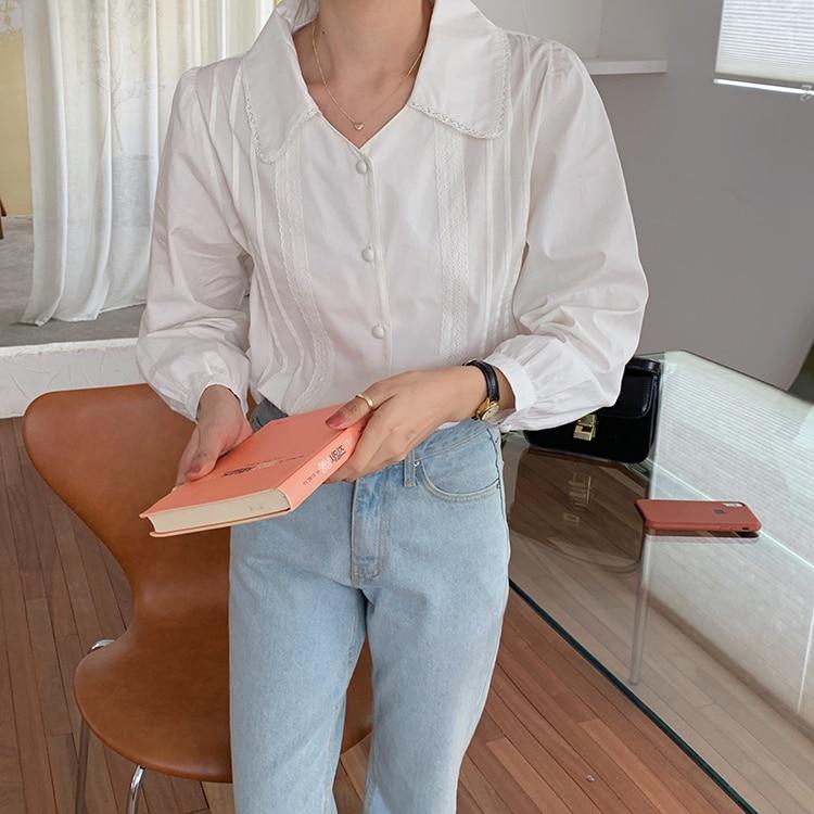Hd240d5e528c545cdaf49748743d4c50cz - Spring / Autumn Korean Turn-Down Collar Long Sleeves Buttons Lace Blouse