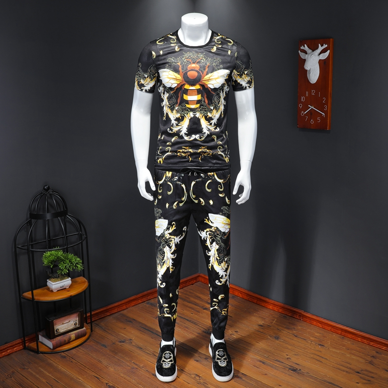 2020 Summer Bee Print Men Sets Fashion Ice Silk Short Sleeve Tshirts+pant  2pcs Tracksuit Sweat Suits Brand Men Clothes Big Size
