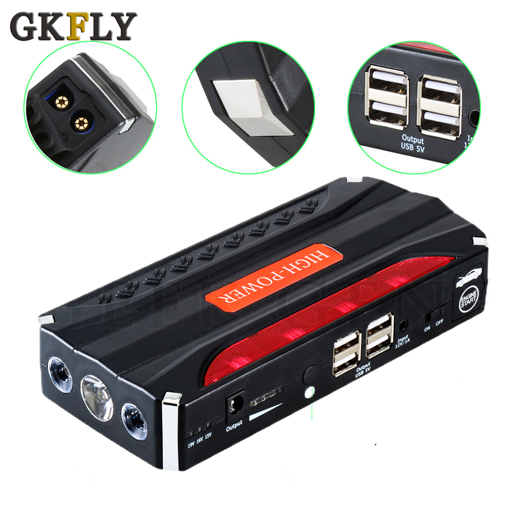 2019 Multi-Function Mini Portable Emergency Battery Charger Car Jump Starter High Power Booster Power Bank Starting Device Cable