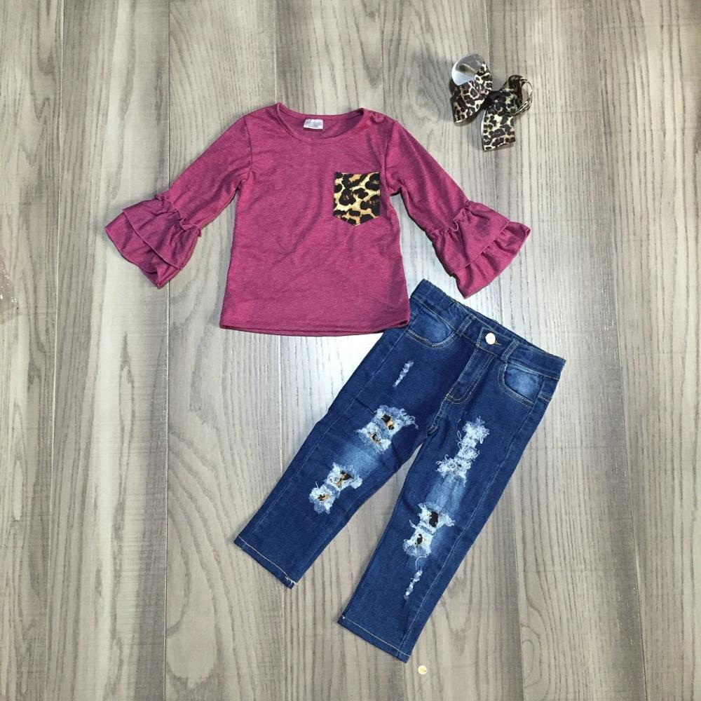 baby Girl clothes girls fall/autumn outfits wine red top with jeans pants girls boutique clothes with bow