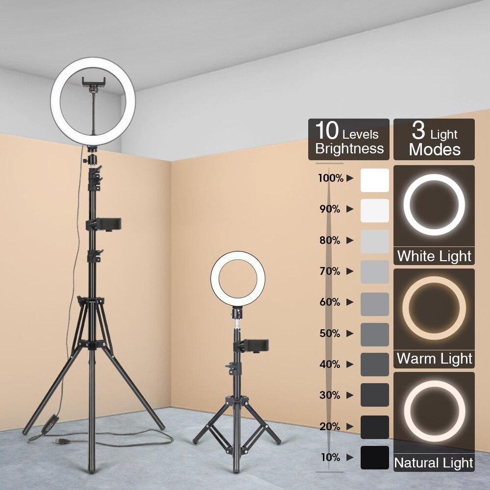Светодиодный светильник с кольцом, светильник для фотосъемки, лампа для селфи с регулируемой яркостью USB и штативом для Youtube, видеосъемки