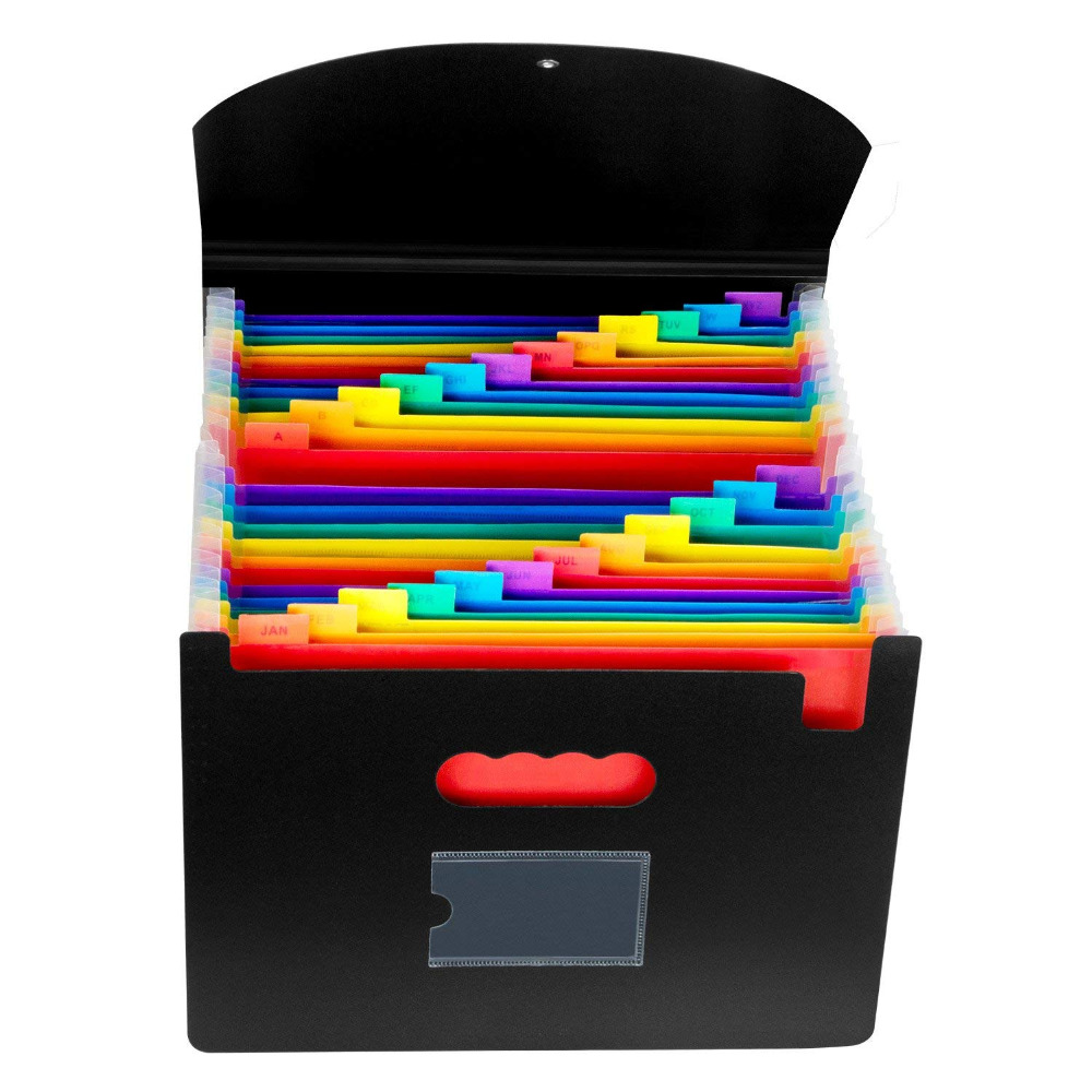 Expanding A4 for File Holder  Office Supplies Plastic Rainbows Organizer A4 Letter Size Portable Documents Holder Desk Storage 2