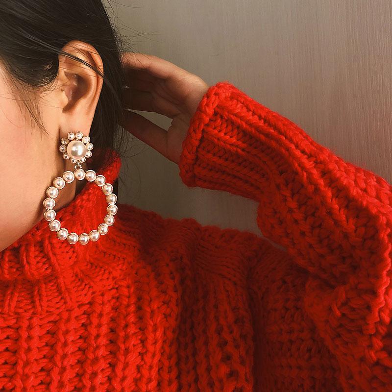New Fashion Pearl Drop Earrings For Women Lot Gold/Silver Simple 2020 Trendy Wedding Jewelry Simple Bridal Dangle Earring