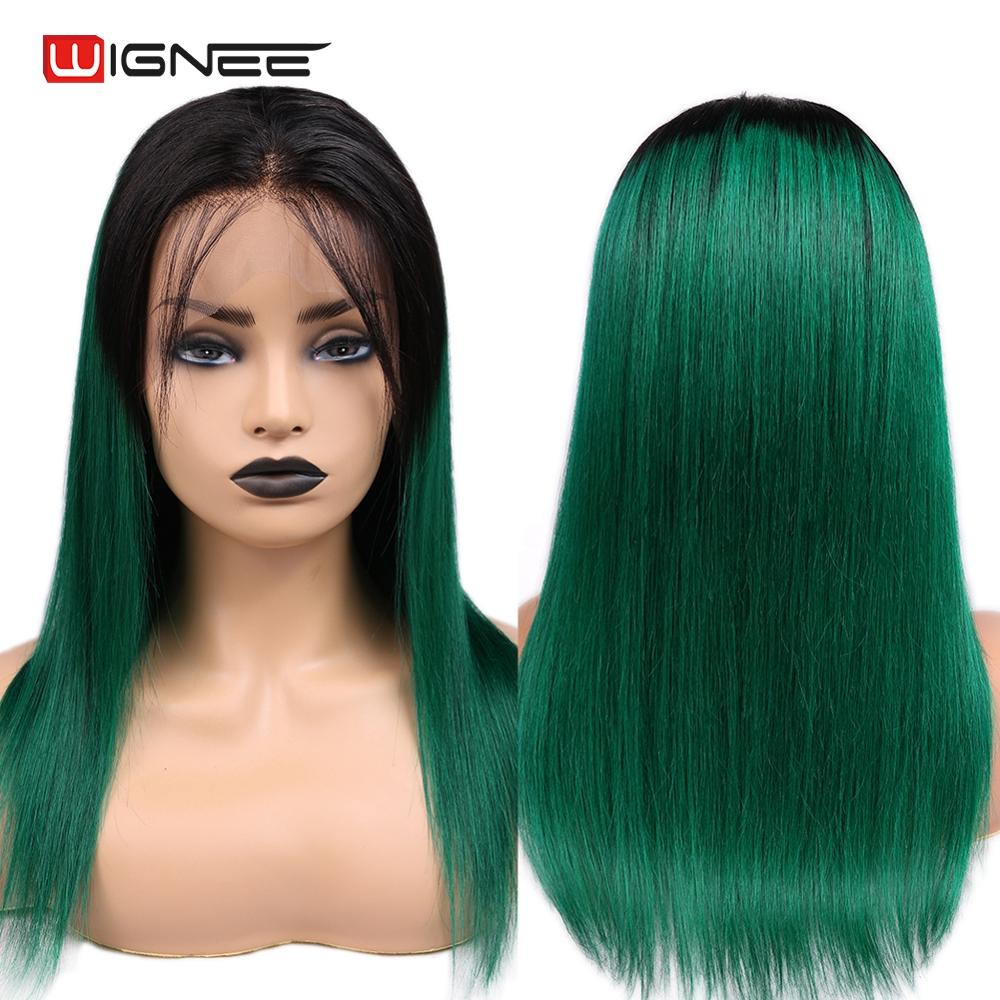 Wignee 4*4 Lace Closure Ombre Green Straight Hair Human Wigs With Baby Hair For Women PrePlucked Natural Hairline Lace Human Wig