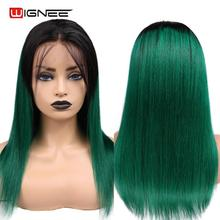Wignee 4*4 Lace Closure Ombre Green Straight Hair Human Wigs With Baby For Women PrePlucked Natural Hairline Wig
