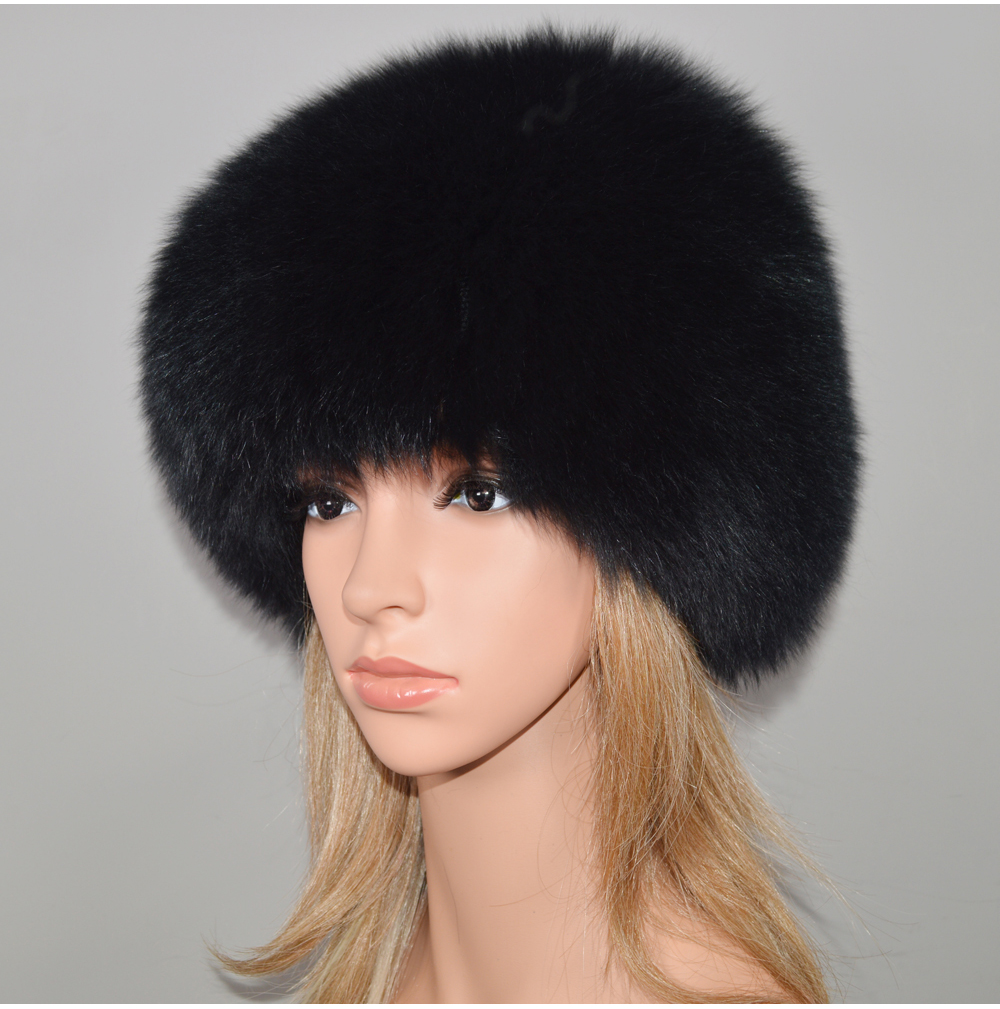 Hd241ceaf56dc48a09171730a3771e86fa - New Luxury 100% Natural Real Fox Fur Hat Women Winter Knitted Real Fox Fur Bomber Cap Girls Warm Soft Fox Fur Beanies Hats
