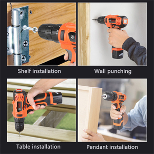 Image 5 - 2 Battery Hand Drill Cordless Electric Impact Power Drills Screwdriver Rotary Tools For Woodworking 12V