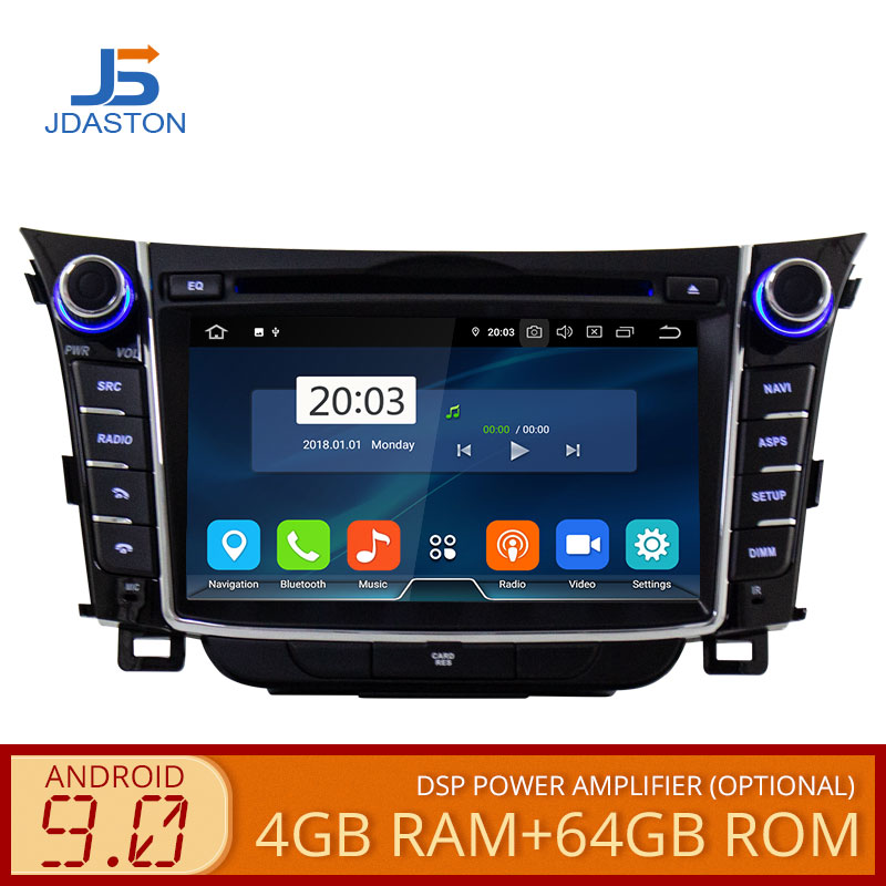 Jdaston android 9.0 reprodutor de dvd do carro para hyundai i30 elantra gt 2012-2018 wifi multimídia gps estéreo 2 din gravador de fita de rádio do carro