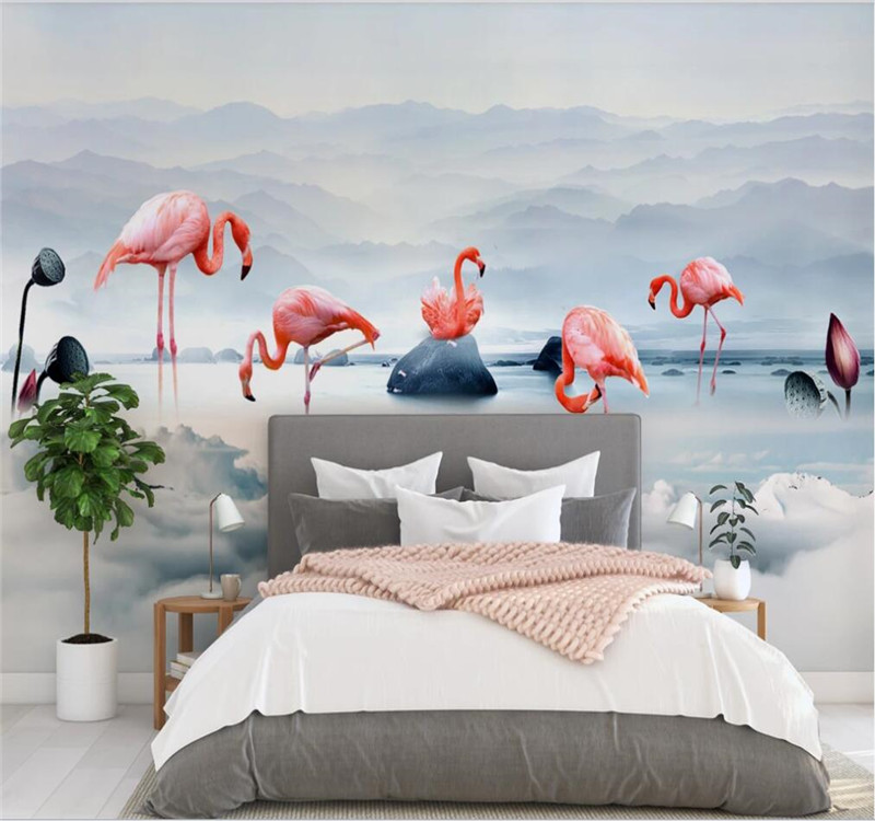 Custom Wallpaper Mural Nordic Minimalist Cloud Flamingo Flamingo Far Mountain Background Wall - Waterproof Material