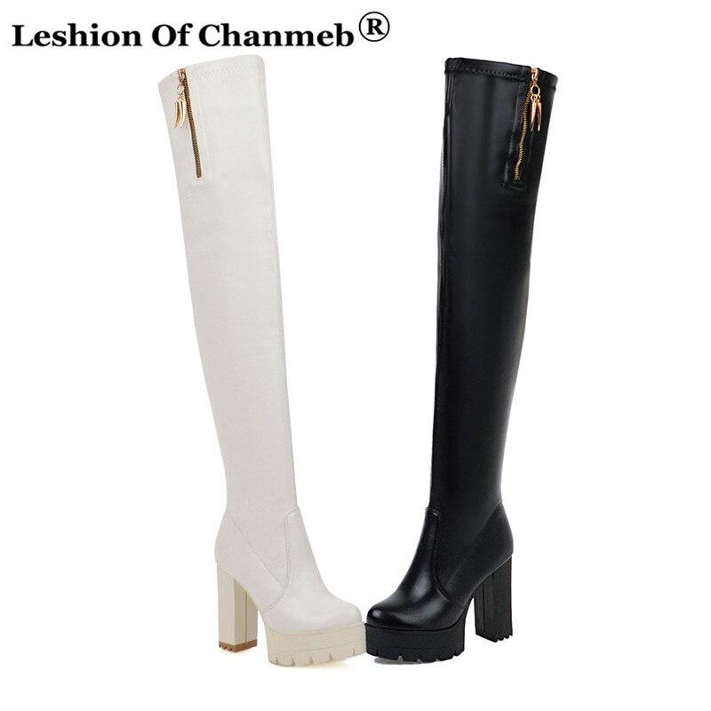 Woman Shoes High-Boots Platform Zipper Waterproof Plus-Size Ladies Sex Winter Round-Head