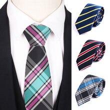 Striped tie for men women fashion skinny plaid necktie casual