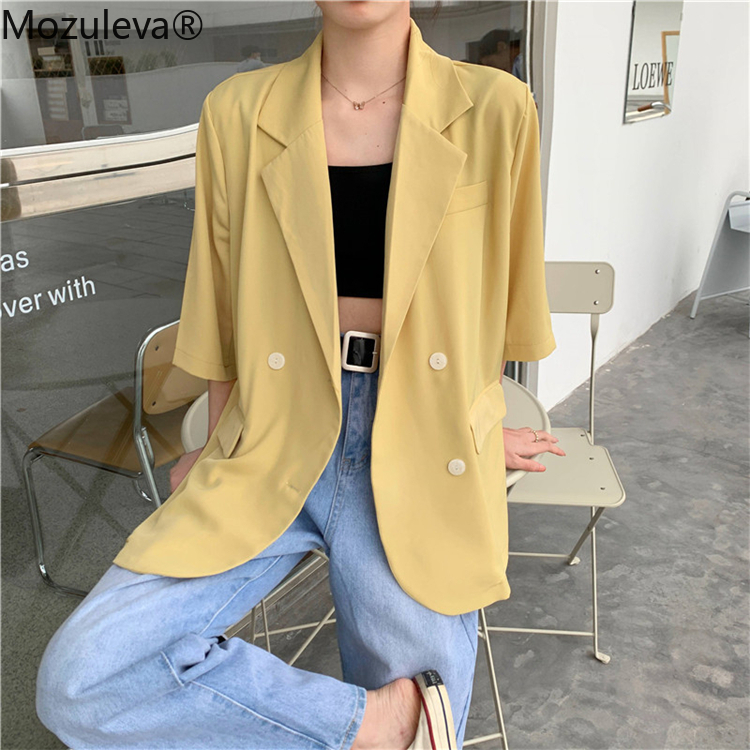 Mozuleva New 2020 Summer Women Blazers Solid Multi Casual Three Quarter Loose Jacket Notched Lady Wild Tops Blazer Feminino