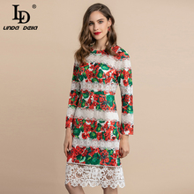 LD LINDA DELLA Autumn Winter Fashion Runway Elegant Dress Women's Long Sleeve Flower Lace Patchwork Floral Print Vintage Dress ld linda della runway maxi dress women s flare sleeve belt casual bohemian party holiday lemon floral print long dress