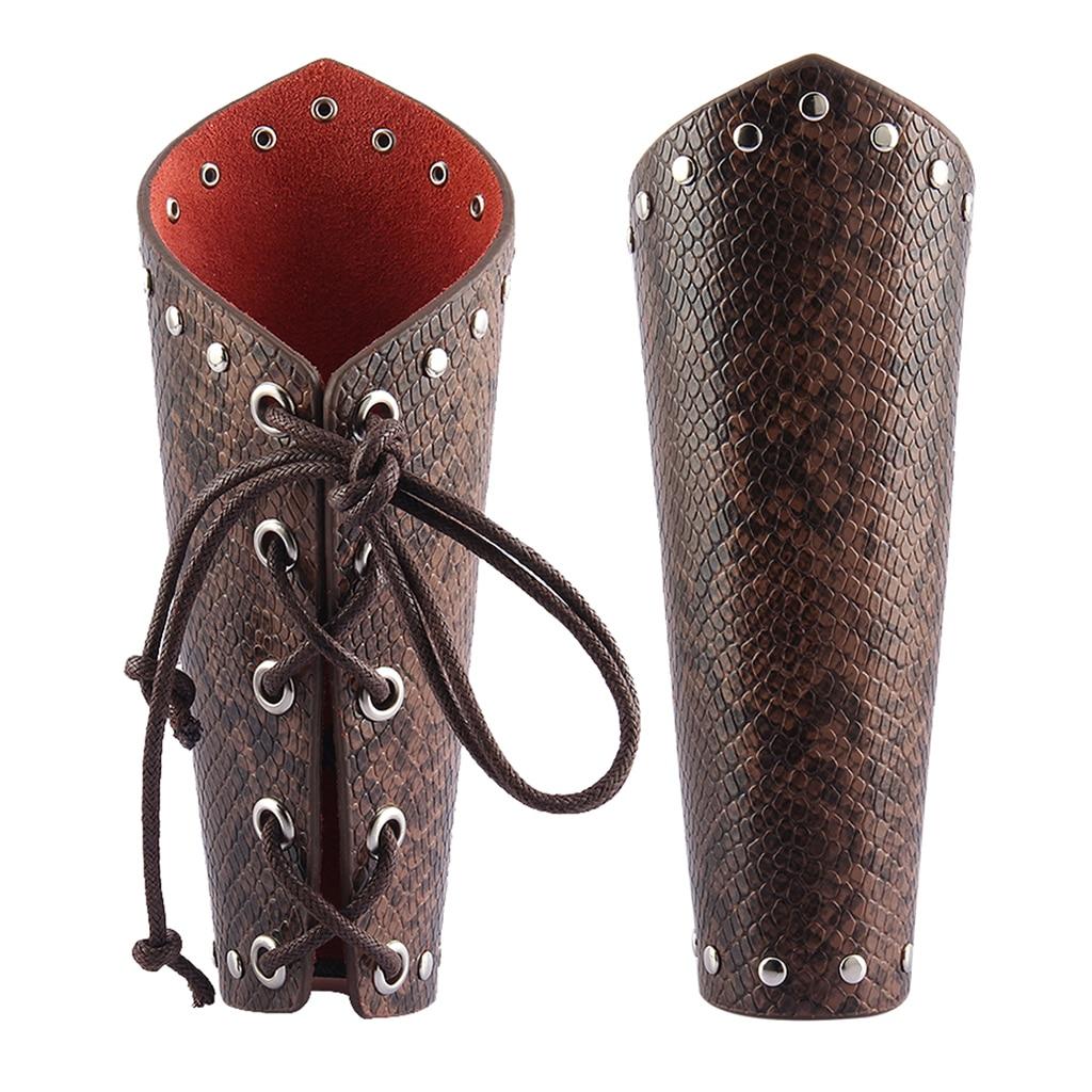 1 Pair Coffee PU Leather Gauntlet Wristband Wide Bracer Arm Armor Cuff Men