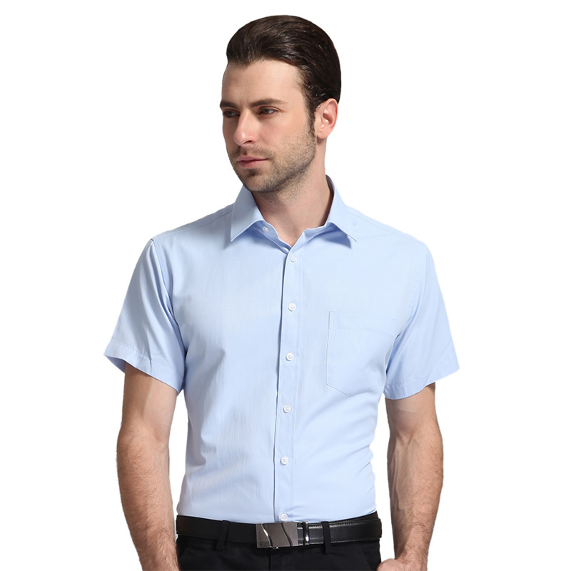 Men's Regular-fit Summer Short Sleeve Solid Classic Shirt Single Patch Pocket Formal Business Work Office Basic Dress Shirts 6
