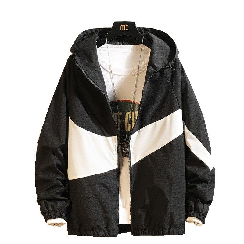 Jacket Men New Hooded Spring Autumn Fashion Patchwork Color Block Coat Casual Lover Jacket Hip Hop Windbreaker Zipper Parka Men