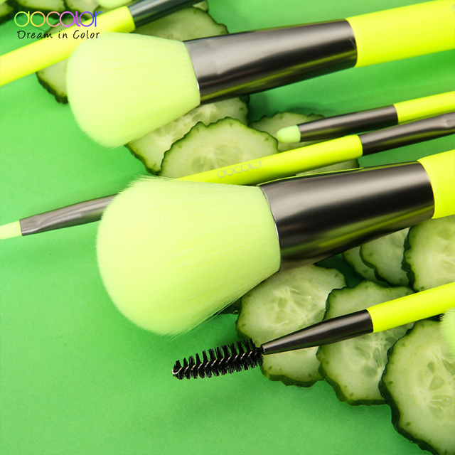 Docolor 10Pcs Neon Makeup Brushes Professional Powder Foundation Eyes Blending Makeup Brushes Set Synthetic Hair Cosmetics Brush 1