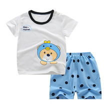 Summer Baby Clothing Sets Print Cotton Short-sleeved Top Shirts& Shorts 2pcs Suit Kids Boys Girls Soft Clothing Outfits A0100 2018 summer children clothing baby boy fashion cotton sleeveless star print top denim shorts baby boys clothing suit 2pcs s2