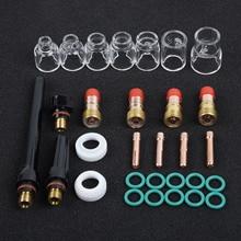 30* TIG сварочный фонарь короткая газовая линза 4#-12# чашка из стекла-пирекс комплект для WP-17/18/26