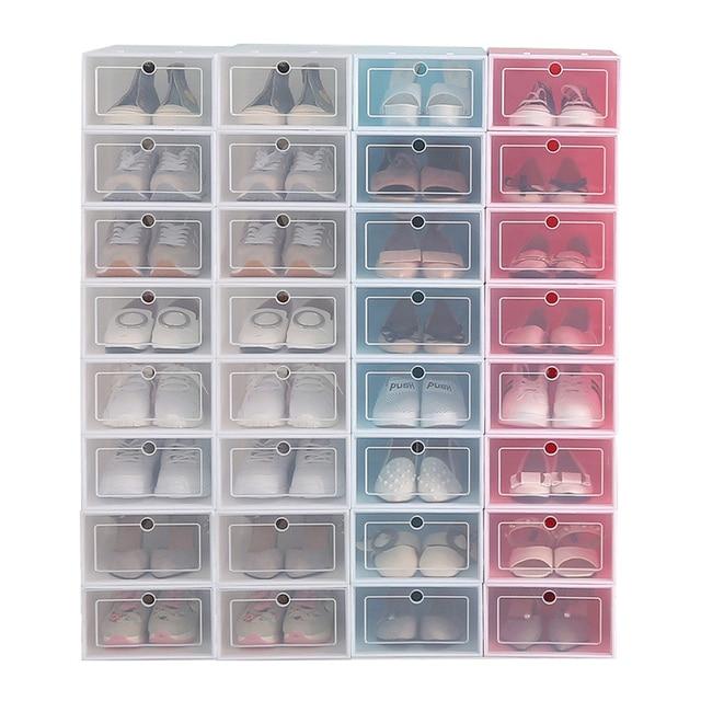 12pcs Shoe Box Set Multicolor Foldable Storage Plastic Clear Home Organizer Shoe Rack Stack Display Storage Organizer Single Box