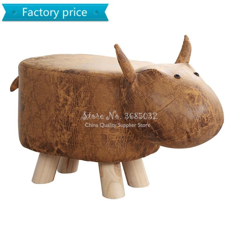 Creative Animal Shapes Stools Calf Elephant Hippo Wooden Bench Shoes Bench Sofa Children Cartoon Stool Solid Wood Animal Stool