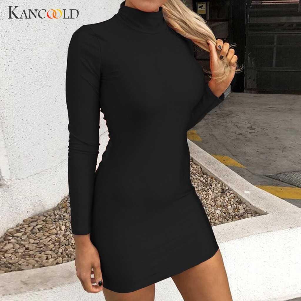 KANCOOLD jurk Vrouwen Casual Coltrui Lange Mouwen Effen Bandage Backless Mini Jurk sexy Empire mode jurk vrouwen 2019DEC3