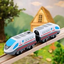 Novo trem elétrico trilha magnética hape steam-era trem de carga clássico locomotiva crianças brinquedo para thomas brio trilha de madeira