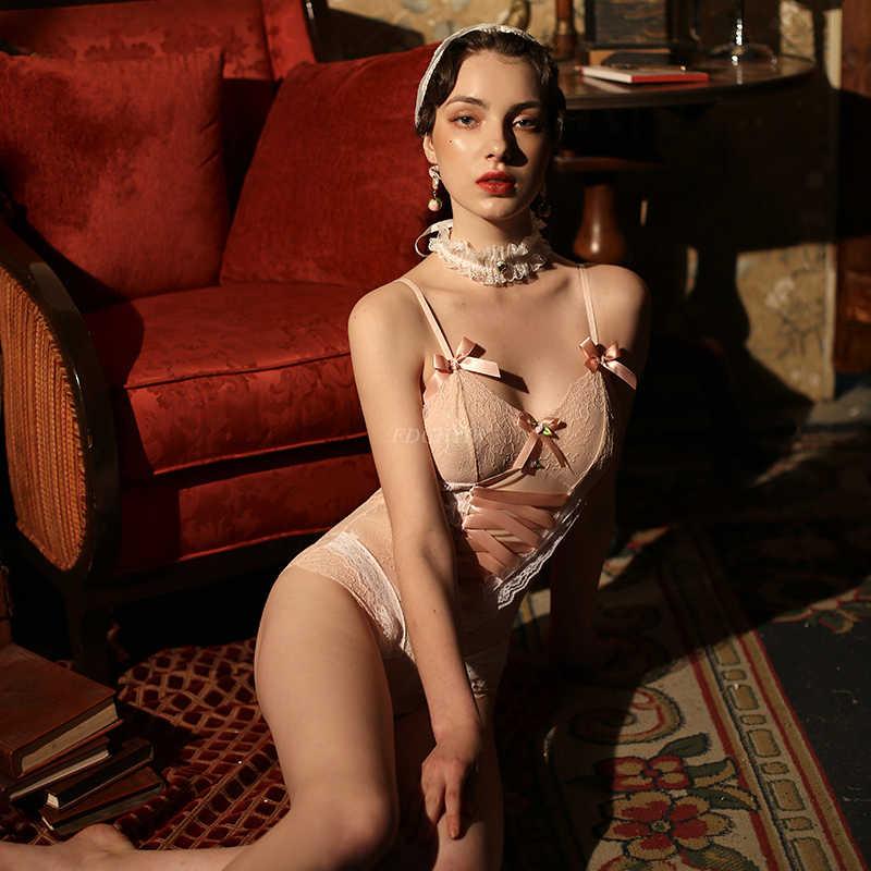 Japoński styl seksowna bielizna body piżamy kobiet koronki druku uwodzenia Teddy bielizna siatki łuk body Sex dla kobiet