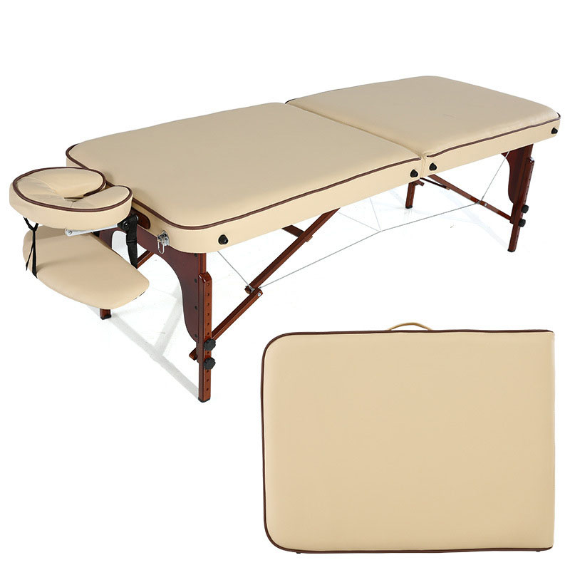 Folding Massage Portable Massage Bed Solid Wood Home Beauty Treatment Bed PU Leather Waterproof Body Bed SPA Tuina And Massage