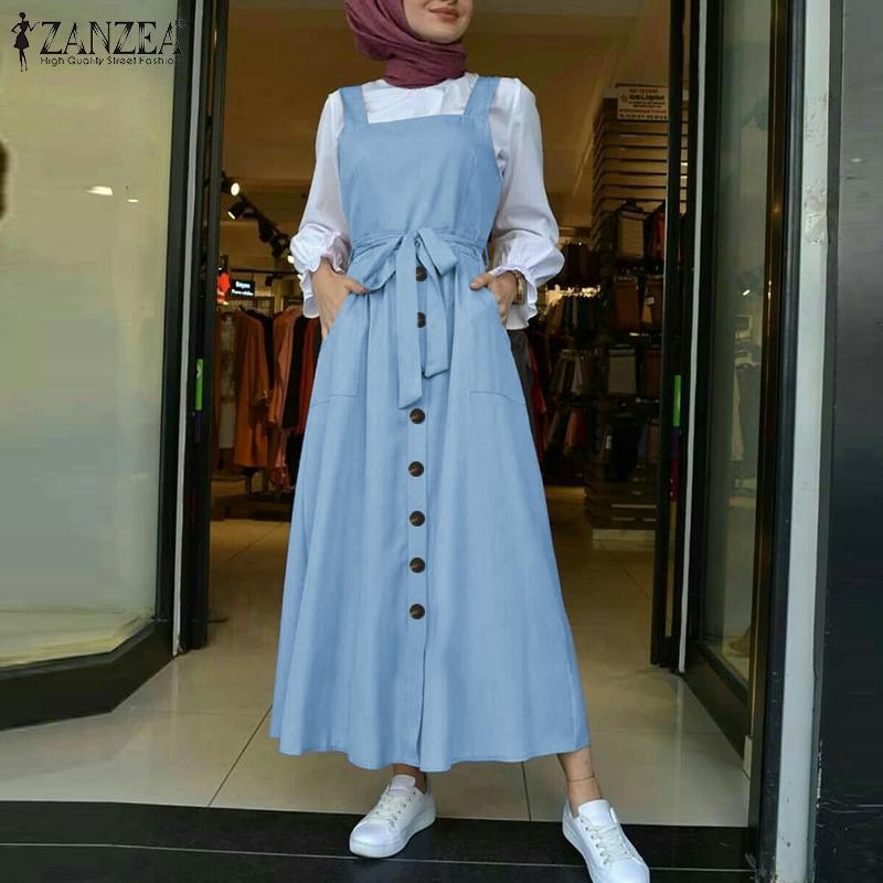 Women's Autumn Overalls Vestidos Fashion Islamic Dress ZANZEA 2021 Casual Solid Tank Marocain Robe Female Button Sundress S-5XL 2