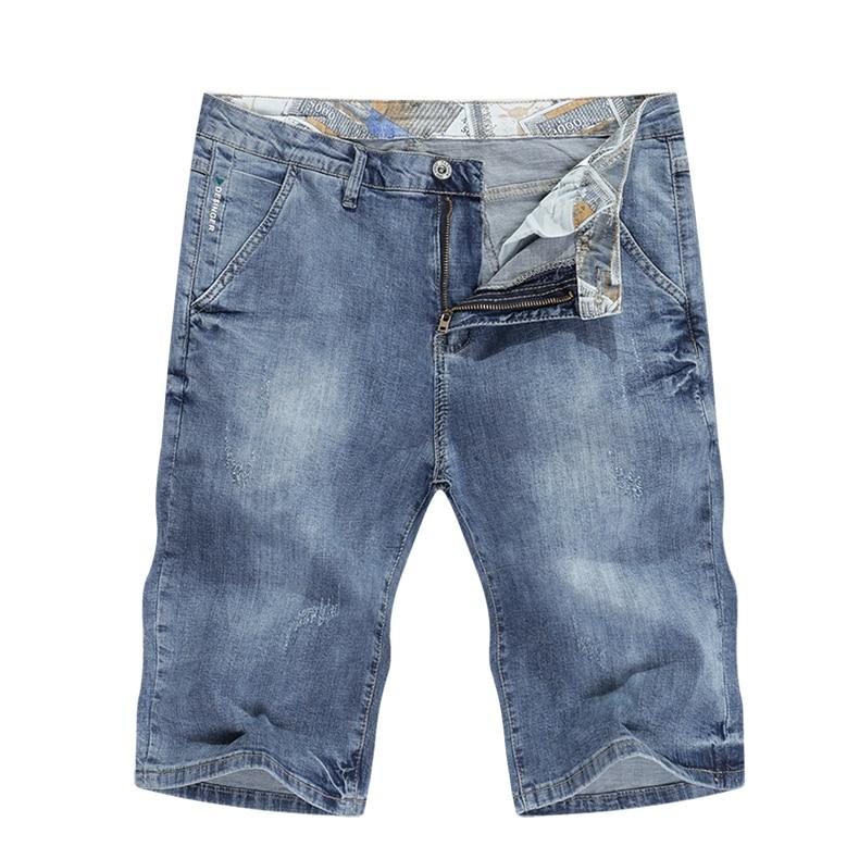 KSTUN Mens Light Blue Jeans Shorts Slim Fit Jeans Men Stretch Summer Denim Short Pants Fashion Leisure Male Jeans Quality Brand 11