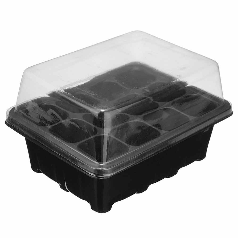 1Pc 12-Well Seedling Box Cell Plug Black Propagation Tray Plant Seed Cloning Insert Clone Grow Box Kit