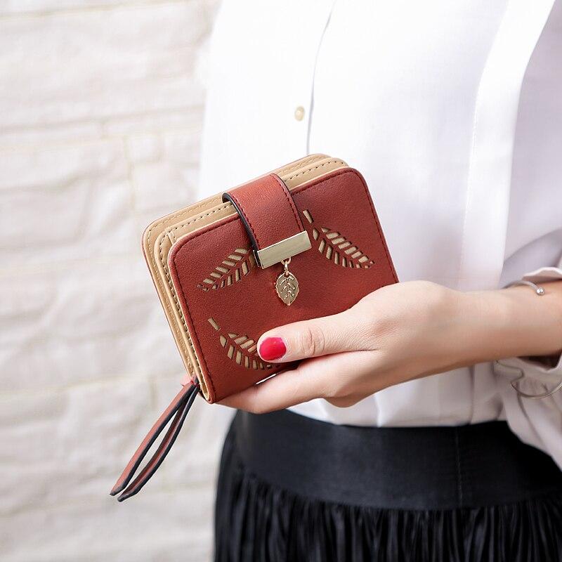 Женский кошелек, модный кошелек, женские короткие кошельки, полый кошелек, Сумочка для женщин, монета из искусственной кожи, кошельки, держатель для карт Carteira - Цвет: Coffee