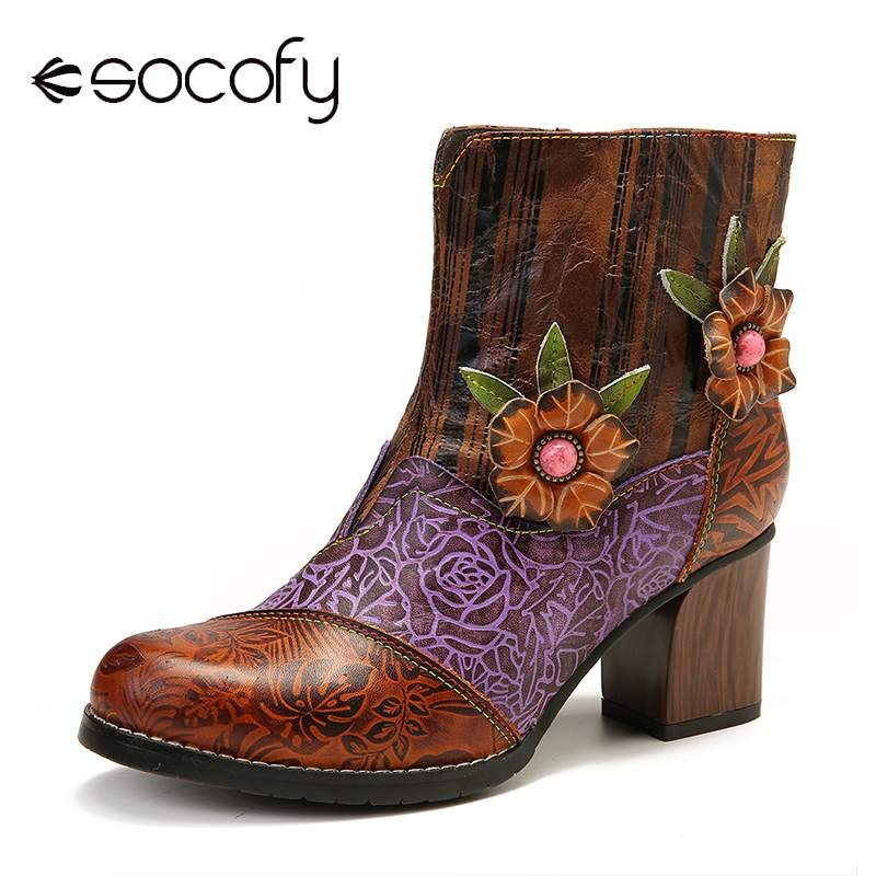 SOCOFY Retro Embossed Boots Ladies Shoes Genuine Leather Floral Stitching High Heel Short Boots Women Shoes Botas Mujer 2019