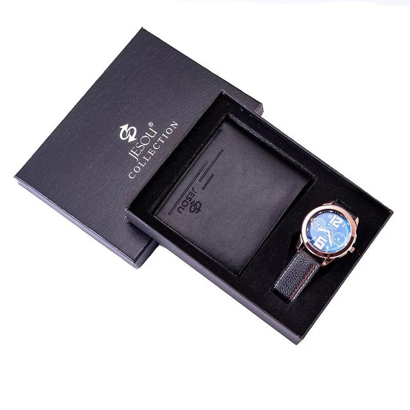 Мужские часы с кожаным ремешком, кварцевые наручные часы, складные часы с кожаным бумажником, подарочный набор для мужчин, праздничный