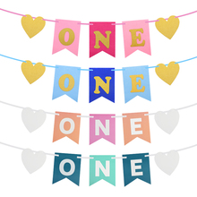 Baby Shower One Banner Kids Boy Girl 1st Birthday ONE Banner Flag Haning Garland I AM ONE Bunting First Birthday Party Decoratio oh baby oh girl oh boy banner sign banner banner baby shower decorations girl boy unisex baby shower bunting suplies