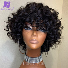 Luffywig Short Curly Human Hair Wigs With Bangs Remy Brazilian Scalp Base Top Full Machine Made Wigs with Bang For Black Women
