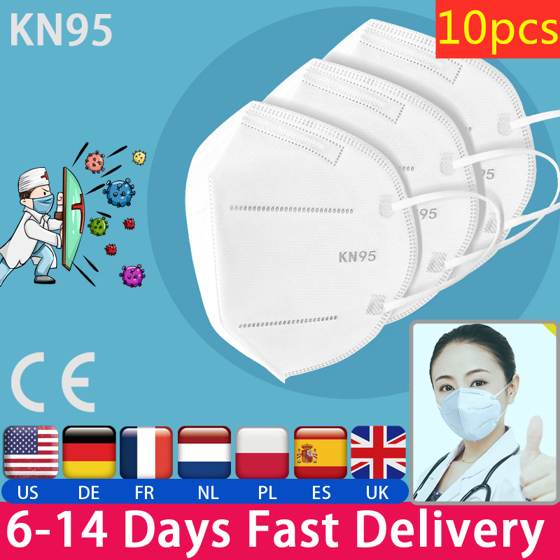 10 Pcs Mask KN95 Dustproof Anti-fog And Breathable Face Mask 95% Filtration N95 Masks CE Certified Protective Mask