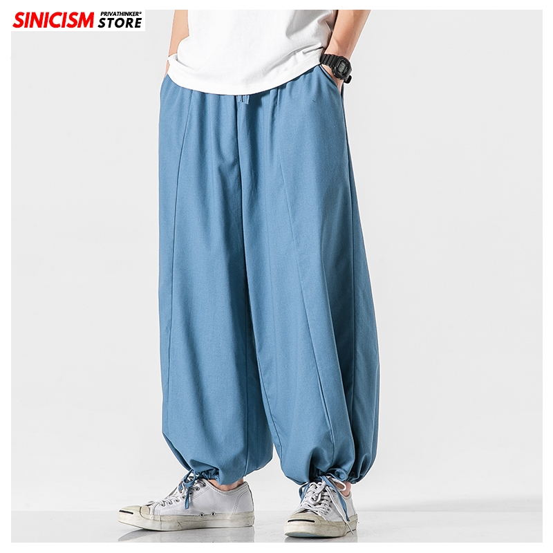 Sinicism Store Men Solid Summer Wide Leg Pants Mens 2020 Vintage Breathable Trousers Male Oversize Casual Chinese Style Pants
