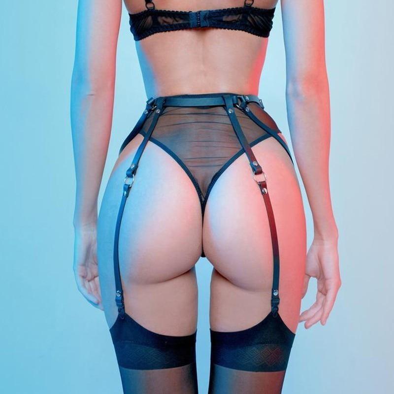WKY Erotic Accessories Woman Garter Belt Leather Harness Waist Belt Adjustable Sexy Underwear Punk Goth Straps Lingerie Bondage