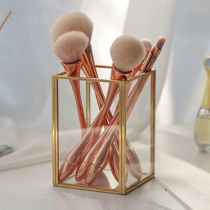 Golden Cosmetic Storage Box Desktop Lipstick Finishing Glass Plaid Jewelry Classification Storage Makeup Brush Organizer