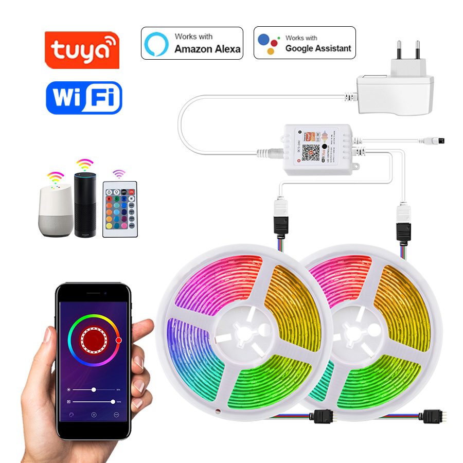 Tuya Smart WiFi светодиодный светильник 12 В RGB 5050 работает с Alexa Google Home Голосовое управление RGB светодиодный светильник s лента гибкая лента