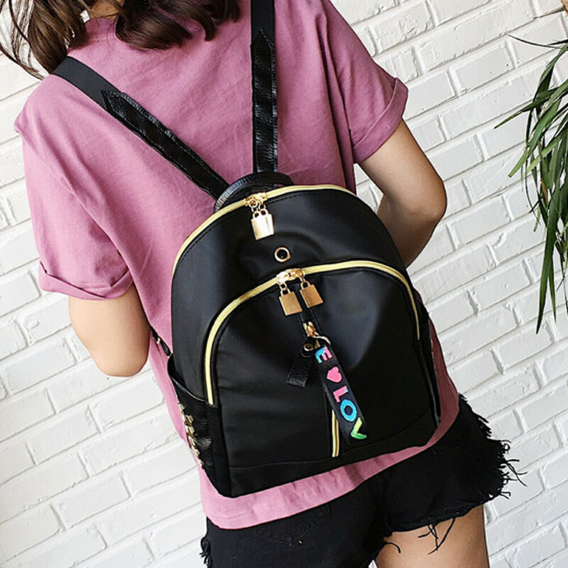 Woman Fashion Pu Leather Backpack Anti Theft Black  Leather Shoulder Bag Female Travel Backpack Girl Backbag Black