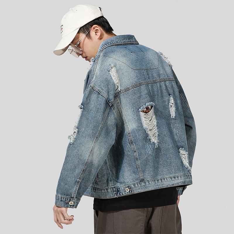 Mannen Ripped Gaten Vintage Jeans Jas Vlag Letters Patch Ontwerp Geschilderd Denim Jas 2019 Streetwear Katoen Mode Windbreake - 3