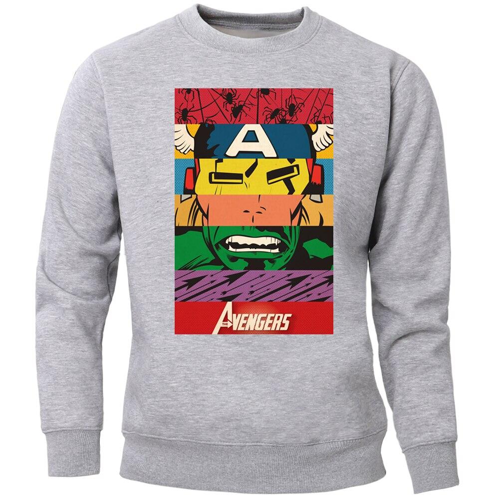 The Avengers Hoodies Sweatshirts Men Superhero Crewneck Sweatshirt Jumper Warm Fleece Super Hero Streetwear Workout Sportswear
