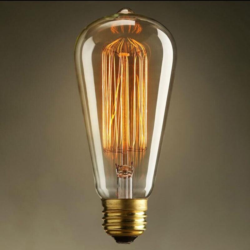 220/110v Edison Bulb Retro Style Household E27 Edisons Lamp 40w ST64 Ball Bubble Light For Pendant Lamps Holiday Decor Light